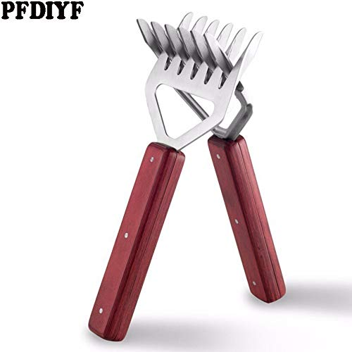 2pcs 304 Stainless Steel Bear Claw Barbecue Fork Meat Splitter Long Handle Wood Cooked Meat Torn Meat BBQ Fork for Shredding by Bennett