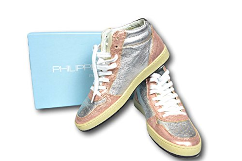 Philippe Model Baskets Scarpa Alta Donna Femme Chaussures Rosa Silver Tg. 37 38