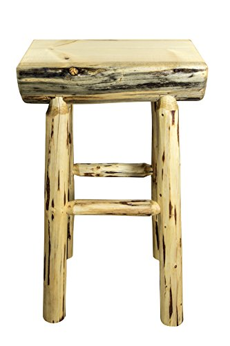 Montana Woodworks Montana Collection Half Log Barstool with Exterior Finish Log Bar Chair
