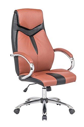 Meubletmoi–Silla de Oficina Bicolor Negro/Ocre–Silla Ajustable ergonomico Ultra Confortable–Reposabrazos cromados–Design Style Baquet Sport–Air Soft