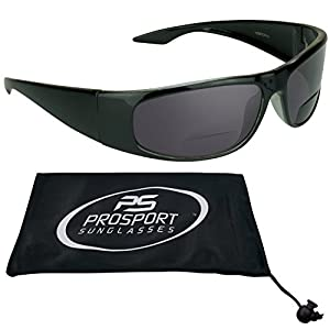 Bifocal Sun Reader Sunglasses for Men and Women. Black Frame with Reading Bifocal Power 1.75. Free Microfiber Cleaning Case included.