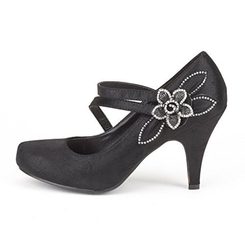 Dream Pairs Arpel / Berry Womens Formali Da Ballo Da Sera Strass Classici Décolleté Con Tacco Basso Scarpe New Berry-black
