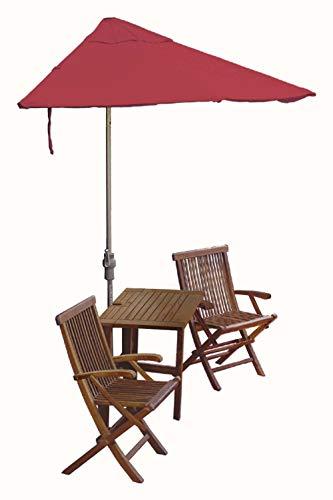 Blue Star Group Terrace Mates Villa Premium Table Set w/ 9'-Wide OFF-THE-WALL BRELLA - Red Olefin Canopy (Wall Red Olefin Umbrella)