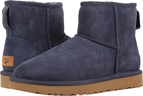 UGG Women's Classic Mini II Winter Boot, Navy, 9 B US (Uggs Button Three)