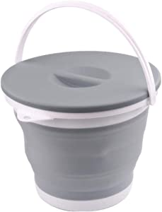 Ahyuan Collapsible Water Bucket with Locking Lid Multifunction Foldable Round Tub Water Pot Portable Water Pail Space Saving Water Container for RV, Camping, Marine, Outdoor Activities and Home (Gray)