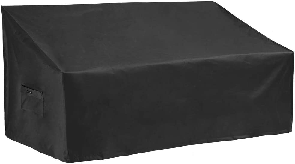 Patio Watcher Medium Outdoor Loveseat Bench Cover, Durable and Waterproof Patio Furniture Sofa Cover, Black