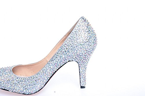 10CM Sliver Heel High Women's Pumps SS002 High Shoes Party Wedding Clearbridal for Prom Heel Evening Bridal Dress Rhinestone Sliver pF8w4