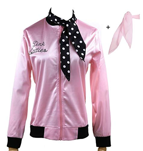 (Yan Zhong 1950s Pink Ladies Satin Jacket Neck Scarf T Bird Women Danny Halloween Costume Fancy Dress)