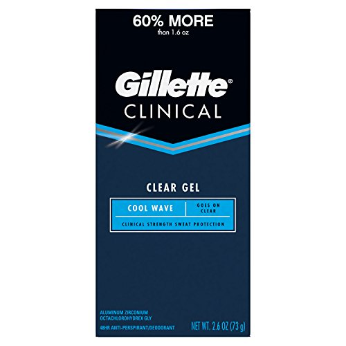Gillette Clinical Strength Antiperspirant Deodorant for Men, Cool Wave Scent, Clear Gel, 2.6 Ounce