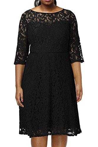 1ab6006980365 Nemidor Women s Illusion Lace Half Sleeve Midi Plus Size Cocktail ...