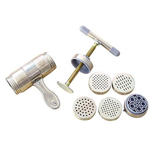 Cikuso Acero Inoxidable Fabricante Manual de Fideos Prensa Maquina de Pasta con el Molde 5 de Fideos