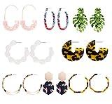 CZCCZC Acrylic Earrings Hoop Earrings Acrylic Resin Drop Dangle Earring Bohemian Statement Stud Earrings (8pcs)