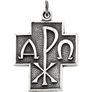 Jambs Jewelry Sterling Silver 24.5x22 mm Alpha Omega Cross 24