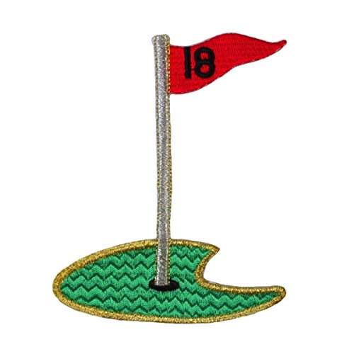 ID 1505 18th Hole Green Patch Golf Cup Fan Sports Embroidered Iron On Applique ()