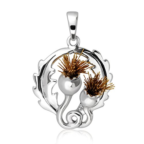 WithLoveSilver 925 Sterling Silver Charm 3D Classic Scottish Style Thistle with Brass Pollens Pendant
