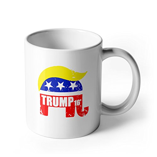 Aha Mug - Donald Trump 2016 - 11 OZ Porcelain Coffee Cup - Gift for Trump Fan, White - by Sweese