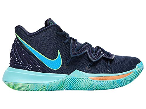 new style 5778a 2d32e Nike Men s Kyrie 5 Obsidian Light Current Blue Scream Green Synthetic Basketball  Shoes 8.5