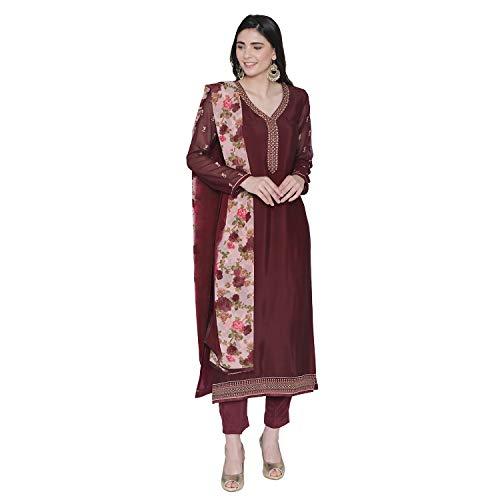 PinkShink Women's Readymade Brown Crepe Indian/Pakistani Salwar Kameez Dupatta ()