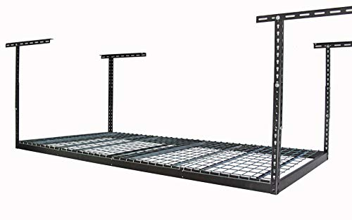 MonsterRax - 4x8 Overhead Garage Storage Rack Heavy Duty (12'-21' Ceiling Drop) - Hammertone