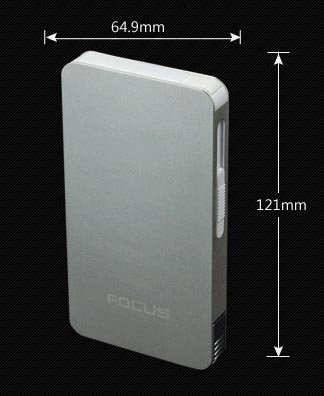ULTRA THIN FOCUS 6 pack Automatic Loading Cigarette Case Dispenser With Built in Torch Lighter (SILV