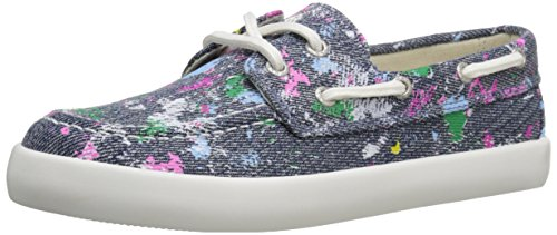 Polo Ralph Lauren Kids Sander Denim/Paint Splatter Fashion Boat Shoe (Little Kid/Big Kid), Denim Paint Splatter, 1 M US Little Kid