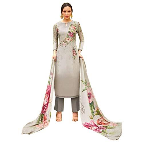 Digital Printed French Crepe Formal Casual Punjabi Women Salwar Kameez Indian Ethnic Trouser Muslim 7699