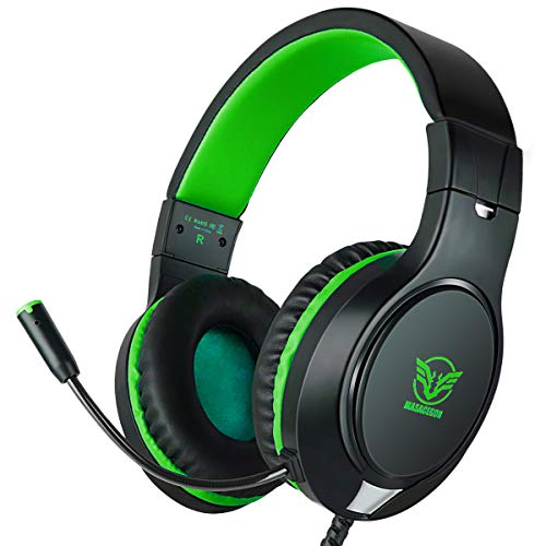 Gaming Headset for Xbox One, PS4,Nintendo Switch, Bass Surround and Noise Cancelling with Flexible Mic, 3.5mm Wired Adjustable Over-Ear Headphones for Laptop PC iPad Smartphones ()