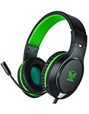 Gaming Headset for Xbox One, PS4,Nintendo Switch, Bass Surround and Noise Cancelling with Flexible Mic, 3.5mm Wired Adjustable Over-Ear Headphones for Laptop PC iPad Smartphones (Green-Black)