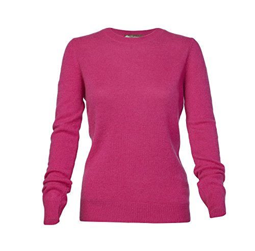 Pure Cashmere Crew Neck Spring Sweater for Women (Magenta Pink, (Pink Cashmere Crewneck Sweater)