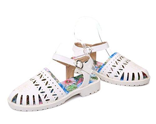 Mode Sandales Avec Découpée Rond Aisun Femme Bout Blanc Boucle HxqnF5