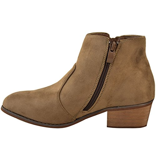 Size Brown Mocha Ankle Womens Boots Suede Faux Thirsty Chelsea Cowboy Western Winter Heel UK Heelberry® Low Fashion Ladies Block aZOWBf8wq