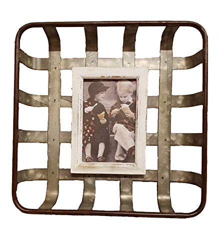 AT Galvanized Woven Metal Basket Picture Frame Wall Farmhouse Decor