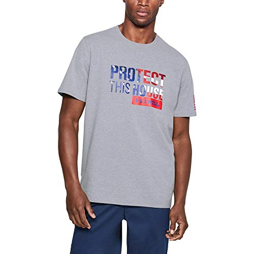 - Under Armour Men's Freedom Protect This House T-Shirt,Steel Light Heather /Red, XX-Large