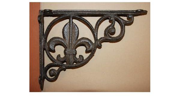 SET OF 4 FANCY FLEUR DE LIS WALL SHELF BRACKET Ornate Corbel Brace Bronze Finish