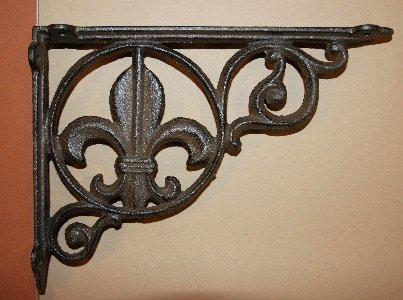 Vintage-look Fleur De Lis Cast Iron Shelf Brackets 9 inches, Set of 3