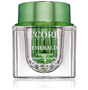 L'Core Paris Emerald Collagen Mask - Firming Multi Use Face & Neck Lifting Moisturizing, Rejuvenating and Nourishing Mask with Concealer & Cleanser, Removes Stretch Marks - 1.7oz/50ml