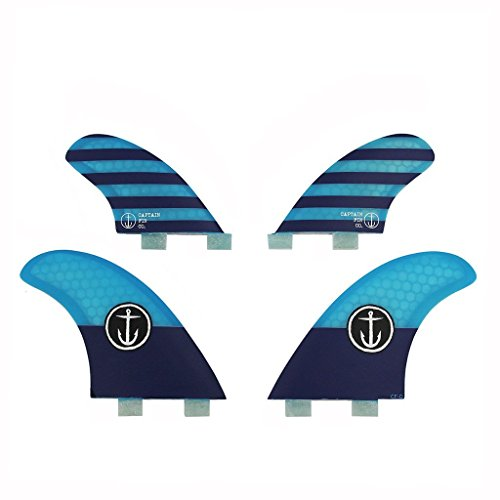 Captain Fin Co. Classic Quad Medium Surfboard Fins | 4 Fin Set | Twin Tab | Blue (Quad Fins)