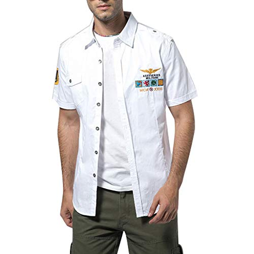 Mens Bomber Casual Embroidery Military Solid Pocket Short Sleeve T-Shirt Tops -