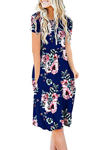 DB MOON Women's Summer Floral Casual Dresses Short Sleeve Empire Waist Tshirt Swing Dress with Pockets Flower Navy Blue 2XL