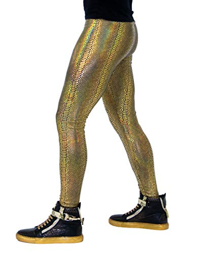 Revolver Fashion - Animal Print Meggings - Snake Skin Men's Leggings - Fun 80's Costume or Rave Gear - Extreme Comfort - Made in USA (Large, Gold Snake)