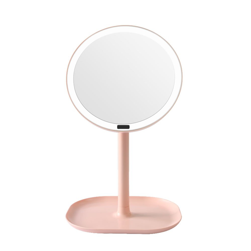 LED Lighted Vanity Makeup Mirror,USB Charging or USB Cable Sullpy Power, 360° Adjustable Stand for Makeup (Pink Induction mirror)