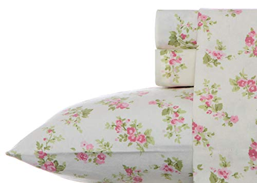Laura Ashley Audrey Pink Flannel Sheet Set, Twin