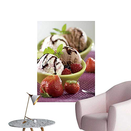 (SeptSonne Wall Stickers for Living Room Yogurt Chocolate ice Cream in a Bowl Vinyl Wall Stickers Print,28