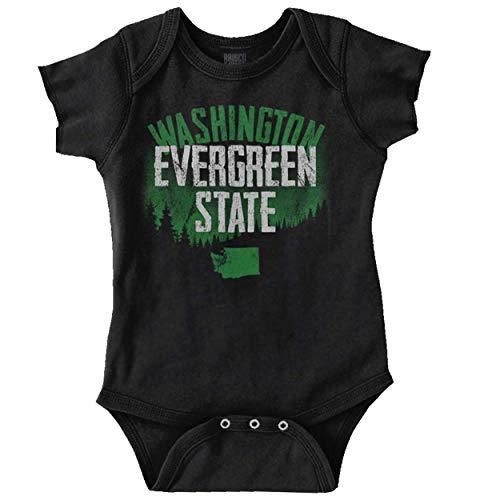 Washington Evergreen Pacific Northwest Gift Romper Bodysuit Black (Best Pacific Northwest Vacations)