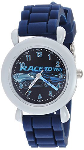 Disney Boy's 'Cars 3' Quartz Plastic and Silicone Casual Watch, Color:Blue (Model: WDS000454)