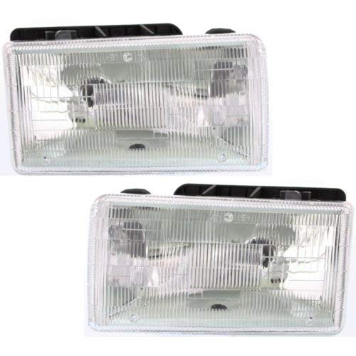 Headlight Assembly Compatible with 1991-1996 Dodge Dakota Halogen with Aero Package Passenger and Driver Side