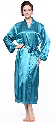 (Sunrise Women's Printed Satin Bathrobe Robe (Medium, Turquoise))