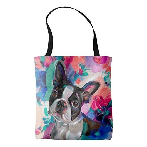 - Women's 'Joy' Boston Terrier Dog Art Cotton Linen Tote Bag 16 x 16 Inch Durable Shopping Bag