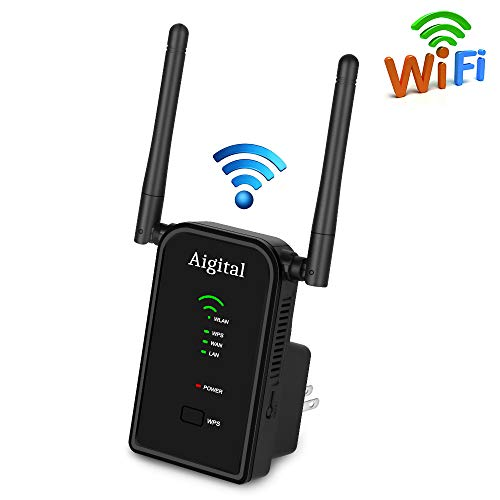(300Mbps WiFi Range Extender Aigital Wireless Repeater One Button Setup WiFi Signal Booster Support Repeater/Access Point/Router Mode 2 Antenna, 2 Ethernet Port Complies 802.11n/g/b with WPS(2.4GHz) )