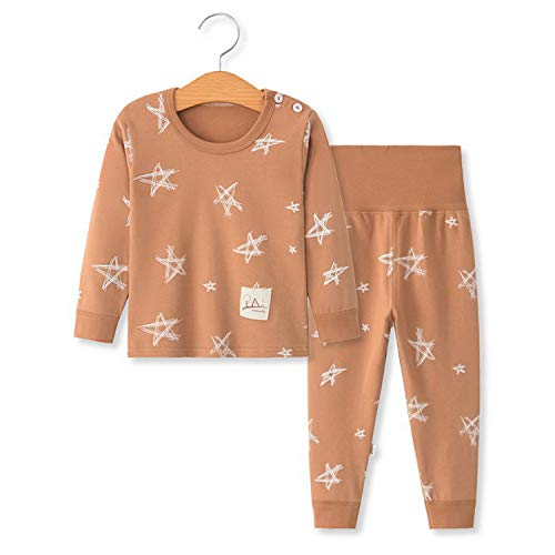 YANWANG 100% Organic Cotton Baby Boys Girls Pajamas Set Long Sleeve Sleepwear(3M-5T) (Tag55/12-24M, Pattern 6)